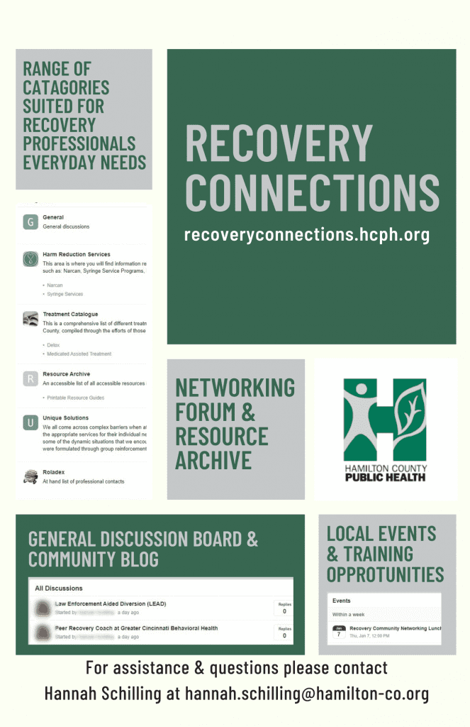 Link to Recover Connections. Forum provides opportunties for networking and resource gathering for recovery professionals.