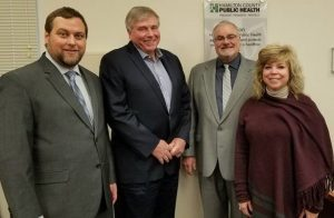 L-R: Greg Kesterman, Interim Health Commissioner, Tim Ingram, Hamilton County Board of Health Chair Jim Brett and Board member Tracey Puthoff.